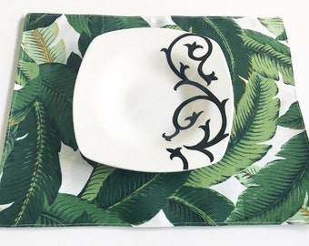 Table Placemats- Palms, Available In Sets of 4 or 6, Indoor Outdoor Placemats