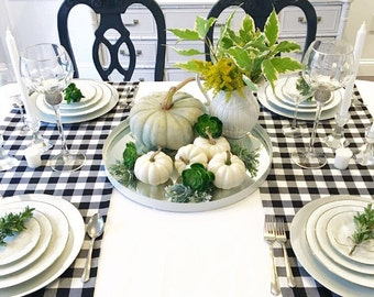 Gingham Table Runner Available In Different Fabric and Length, Dinner Napkins, Table Napkins,Wedding Table Topper, Table Cover