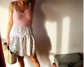 SALE Vtg 1980's cute Pleated frilly skirt multicoloured