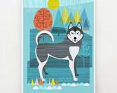 Husky dog, print