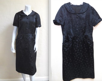 Lovely Vintage Late 40s Silk Brocade Collared Dress w Pockets L XL