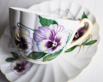 Shelley Pansy Teacup and Saucer