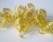 20 Gold Plated Spiral Cage Bead Findings, 13x10mm, Jewelry Supplies