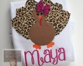 Thanksgiving bodysuit or shirt for girls -- Turkey Glam --Turkey bodysuit or shirt with name in leopard, tan and fuchsia