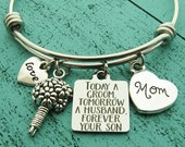 mother of the groom gift, wedding gift for mom, gift from son, groom gift for mom, today a groom tomorrow a husband forever your son