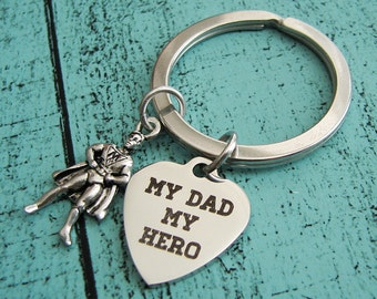 my dad my hero keychain, Father's Day gift from kids, hero gift for dad, Fathers day hero gift, daddy birthday gift from son daughter
