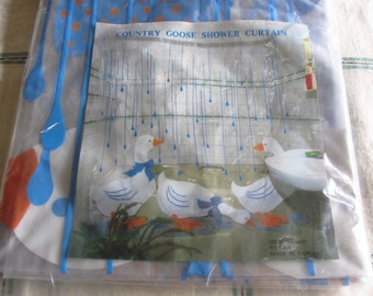 Vintage 80s Country Goose Shower Curtain Clear Vinyl Geese Blue Rain