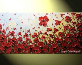 "ORIGINAL Art Abstract Painting Red Poppy Flowers Large Art Acrylic Wall Art Textured Palette Knife Gift READY to SHIP 48"" Christine Krainock"