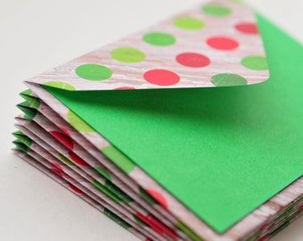 SALE-Chistmas Polka Dot Mini Cards, Set of 4, Blank Cards, Enclosure Card, Gift Card, Favor Card