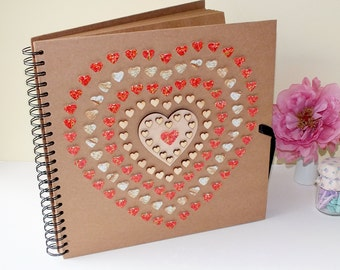 "Rustic Photo Album / Rustic Scrapbook / Wedding Photo Album - Personalised Large 12 x 12"" Red & Gold Love Hearts, Mother's Day Gift For Mum"
