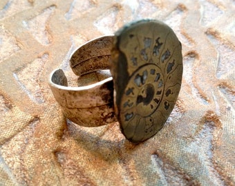 Ammonite Jewelry - Ring - Pyrite Ammonite - Adjustable Silver Ring - OOAK
