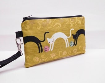smartphone wristlet smartphone wallet clutch mini purse padded iphone wristlet cat wristlet cats playing ball gold