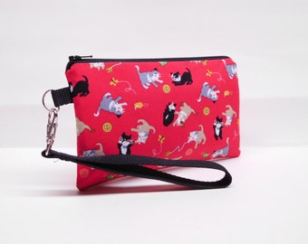 iphone wallet iphone wristlet clutch mini purse padded smartphone wristlet cat wristlet playing cats on red