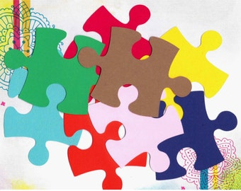 Scrapbooking/ Autism Awareness - 50 Giant Puzzle Pieces - Large - Solid Color Card Stock
