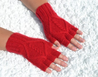 Red cashmere half finger gloves,hand-knitted half finger gloves,handmade red gloves,red cashmere gloves,women red half finger gloves