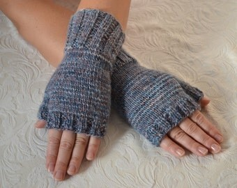 Hand knitted fingerless gloves,wool arm warmers