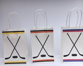Hockey Birthday Party - Hockey Paper Goodie Bags - Set of 10