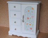 Refurbished Jewelry Box, Bright White Finish, Adorable Floral Print with Blues and Pinks, Upcycled with Modern Updates