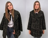 60s Mod Curly Lamb Pea Coat, Wool Fur Coat, Boho Fur Coat, Hippie, Bohemian, Double-Beast Coat Δ size: sm / md