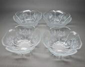 Lasisepat Finland 4 glass bowls plus one extra Pertti Kallioinen design Metsa FOREST flower shape
