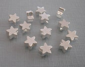 6pcs- Matte Silver Star Beads, Wholesale Star Brass Beads, Beading Supplies, Jewelry Making(6mm).