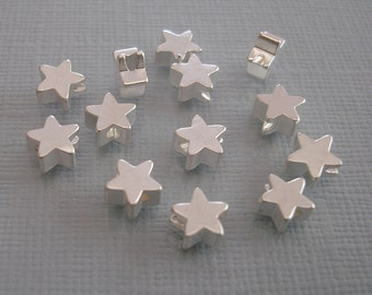 6pcs- Matte Silver Star Beads, Wholesale Star Brass Beads, Beading Supplies, Jewelry Making(6mm).
