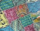 RESERVED - rag quilt THROW - reversible - Ready To Ship