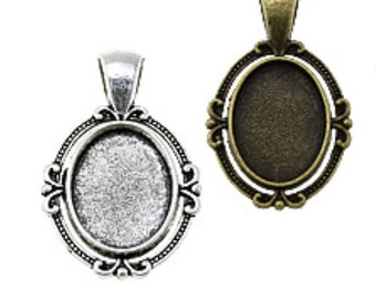 6 Oval Photo frame Pendant charms  ONLY for charm bracelets, family photos and wedding bouquets  / rectangle bezel Lead and Nickel Free