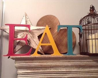 Wooden Freestanding Letters - EAT - Georgian Font - 15cm, handpainted