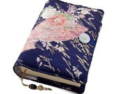 Book Cover, Fabric Bible Cover, Vintage Kimono Silk, Pink Folding Fans & Pine Tree Leaves, UK Seller, Small to Medium Book Size