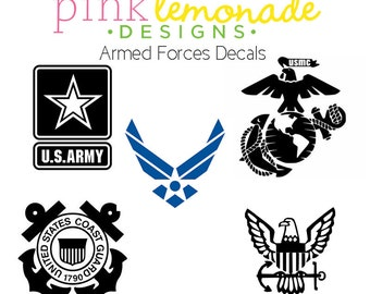 US Armed Forces Vinyl decal, Army Decal, Navy Decal, Air Force Decal, Coast Guard Decal, USMC decal, Marines Decal
