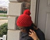 Crochet Chunky Wool Beanie with Pom Pom - CLARET