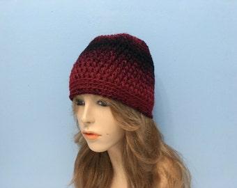 SALE Crochet Beanie Hat - CRAMBERRY/BLACK