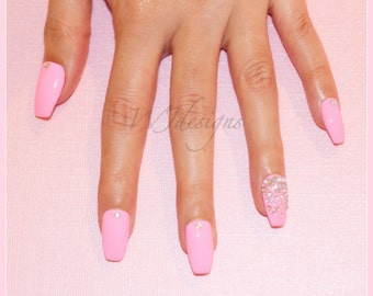 NEW Pink Coffin Shaped Nails with Rhinestones