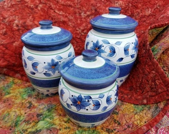Pfaltzgraff Canister Set Three Orleans Pattern Blue and White Kitchen Tuscany Motif by AntiquesandVaria See All The Orleans China Listed Now
