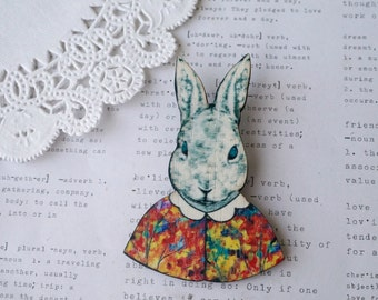 Wooden Fancy Dressed Rabbit Brooch
