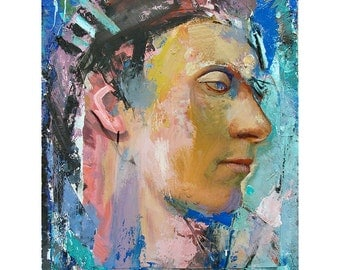 Original Figure Painting oil on wood panel - Head12-5 - 11 x 14 inches