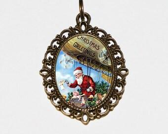 Santa Claus Necklace, Christmas Jewelry, Hot Air Balloon, Blimp, Bronze Oval Pendant