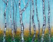 Original Encaustic Painting - Aspen Trees Painting - Encaustic Art - Textured Beeswax Painting - Square Painting 8 x 8 - KLynnsArt