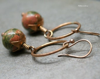 Unakite Bronze Hoop Earrings