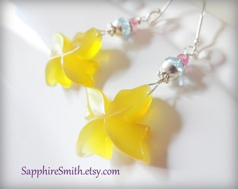 PINWHEELS Earrings, Golden Yellow Chalcedony Carved Briolettes, Sky Blue Topaz, Pink Sapphire, Bali Sterling Earrings