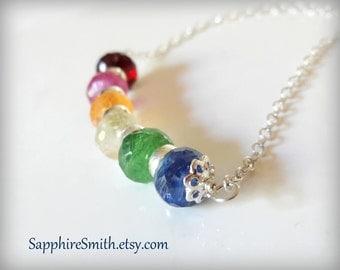 PRIDE Rainbow Multi-Gemstone Necklace, Mandarin Orange Garnet, Pink Sapphire, Blue Kyanite, Tsavorite Green Garnet, Chakra jewelry