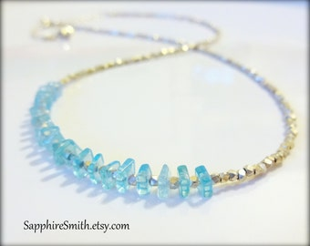 Aqua Blue Apatite & Hill Tribe Fine Silver Necklace, turquoise, casual beach jewelry