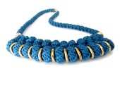 Cobalt Blue Knotted Rope Statement Necklace