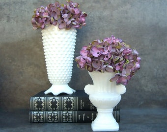 2 Milk Glass Vases Vases, Fenton Hobnail, Avon Urn, Retro Minimalist Neutral Decor, Shabby Chic Cottage, Instant Collection