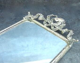Long Vintage Mirrored Tray, Ornate Silver, Stylebuilt Matson, Bows Ribbons, Vanity Perfume Display, Collectibles