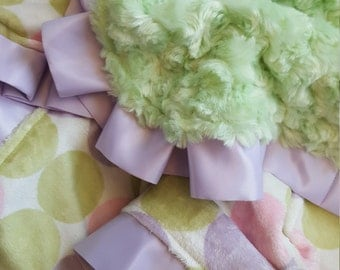 Lavender, Pink and Green Minky Baby Blanket with Satin Trim -Ready to Ship