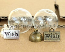 DIY 1set (wish+glass+Dandelion seed)Dandelion seed necklace Make A Wish   transparent round necklace ftting