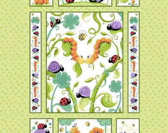 f05b324c457 Leif the Caterpillar Quilt Panel Fabric by Susybee! 100% Cotton sold By The  Panel, Panel is 36