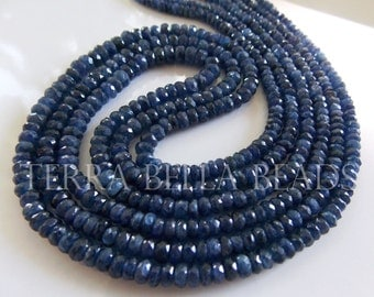 "9"" half strand deep blue genuine BURMESE SAPPHIRE faceted rondelle beads 2.5mm - 4mm"